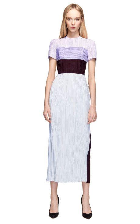 Short Sleeve Crush Pleated Silk Cady Mid Dress by Barbara Casasola for Preorder on Moda Operandi