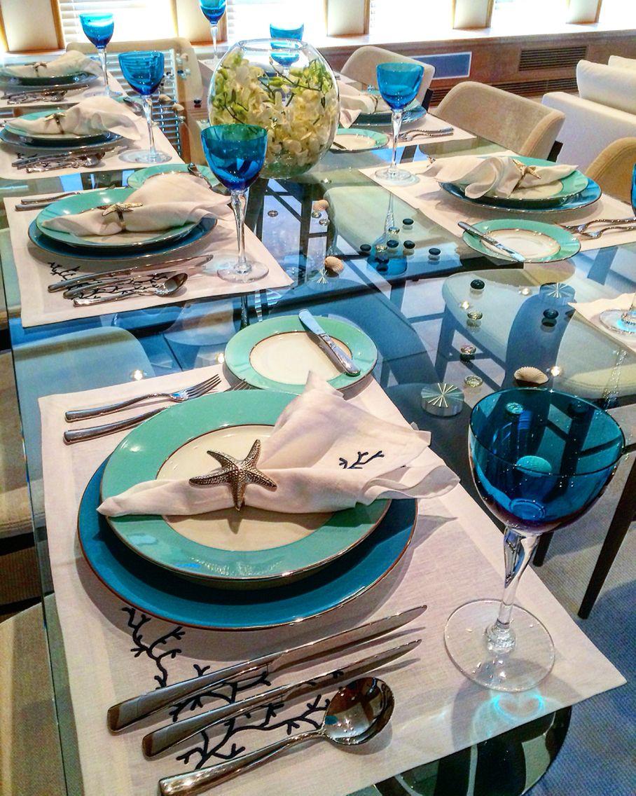 Yacht Interiors Sea Inspired Dining Aqua And White Porada