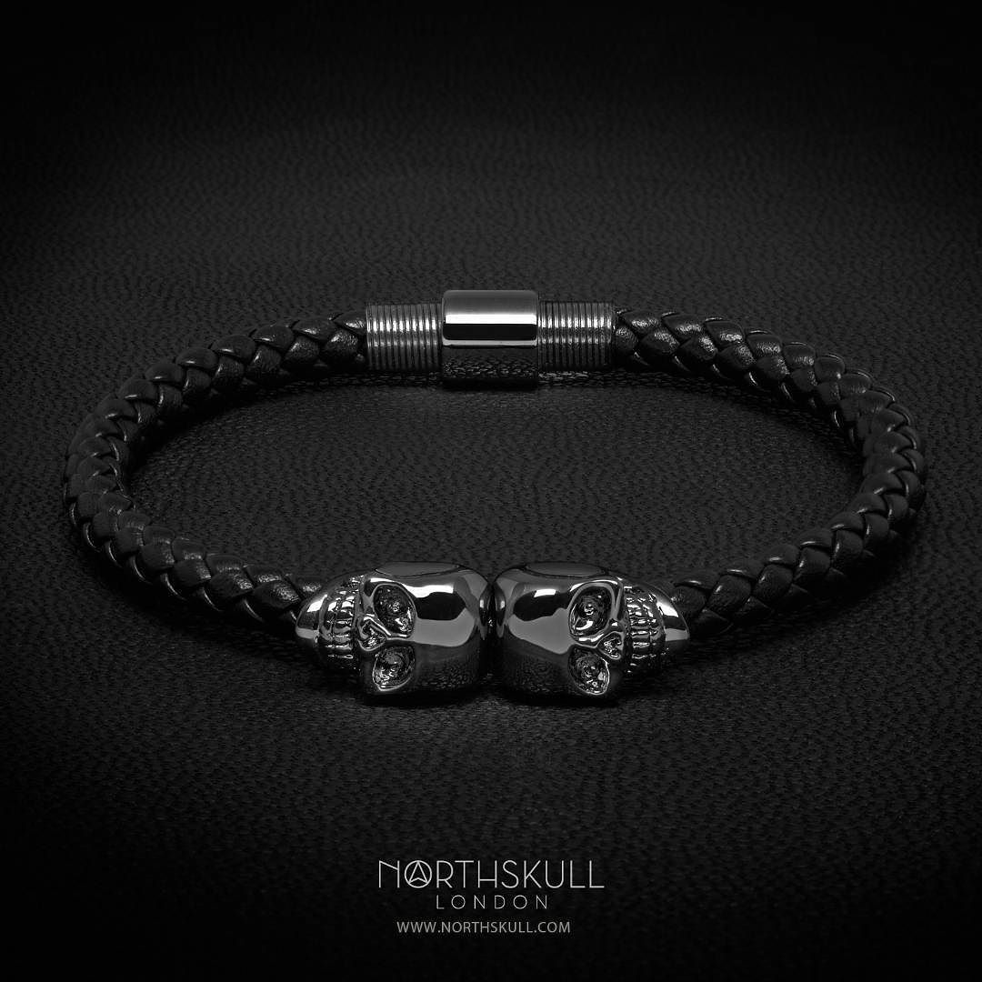 Introducing the NEW Black Nappa Leather / Gunmetal Black Twin Skull Bracelet by @Northskull | Perfect for both formal & casual styles the luxurious allure of their signature hand carved skulls in a gunmetal black finish gives this piece an understated yet standout quality. | Available now at Northskull.com [Worldwide Shipping] by mensfashionreview @menstylica