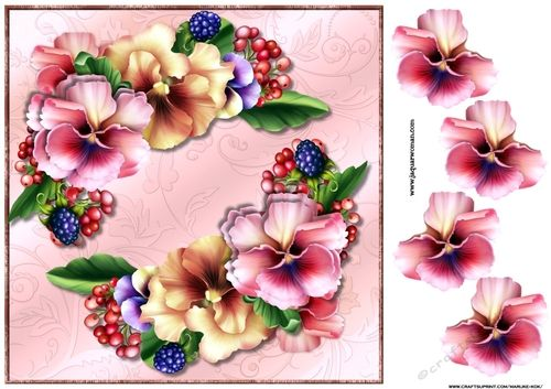 Violets Symphony Card Topper on Craftsuprint designed by Marijke Kok - very beautiful card topper with violets ..For any occasion. -…