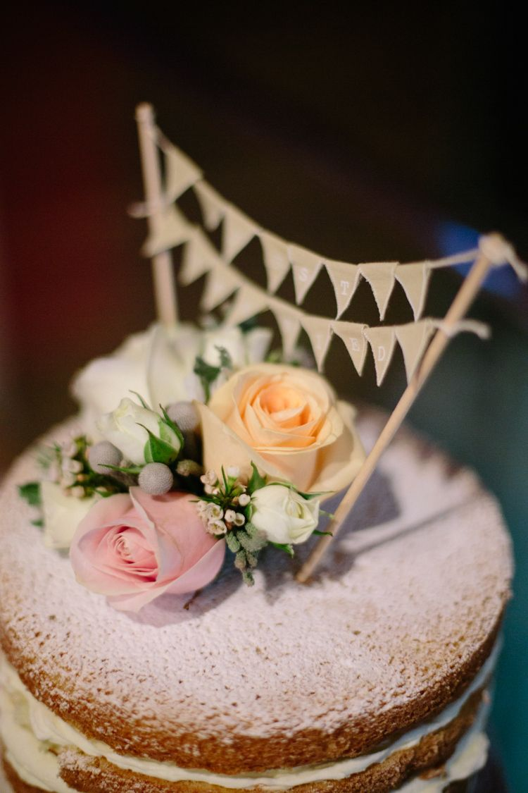 Bunting Flowers Cake Topper Simple Chic Dove Grey Peach Yorkshire Wedding Http Www