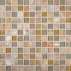 Honey Ivory Onyx Blend 1 in. x 1 in. Glass/Stone Mesh-mounted Mosaic Wall Tile --- for the kitchen