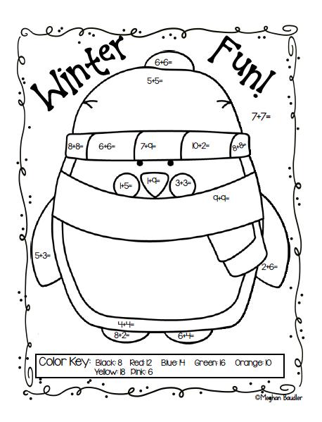 Addition Winter Freebie Winter Math Winter Kindergarten First Grade Freebies