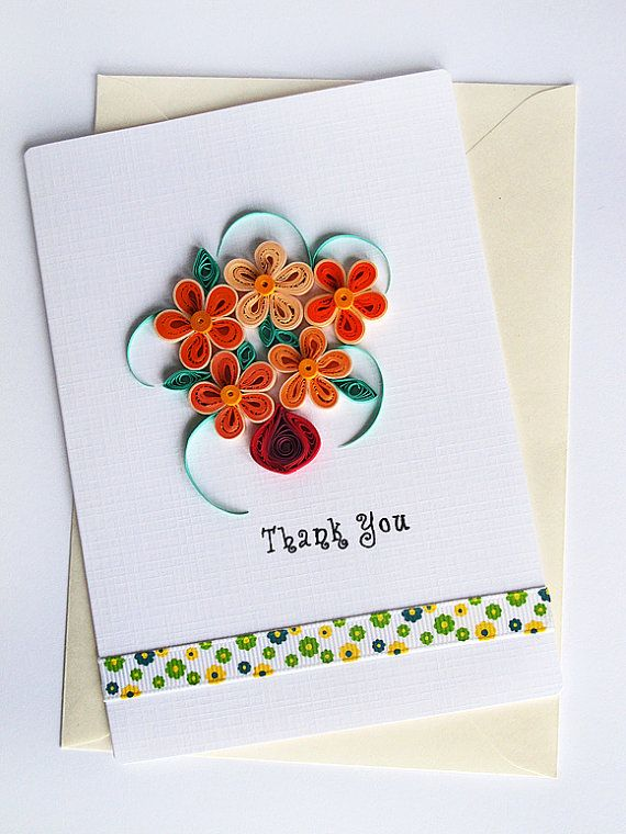 Handmade Thank You Card Quilling Bunch Of Flowers By Szalonaisa On