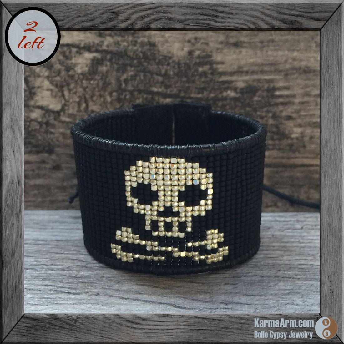 Loom Beaded Wrap Cuff: Black + Silver Skull ------ This single wrap bracelet features vintage seed beads in a modern, sexy skull pattern. Beautifully handcrafted, this wide cuff looks great paired with a mala bracelet.