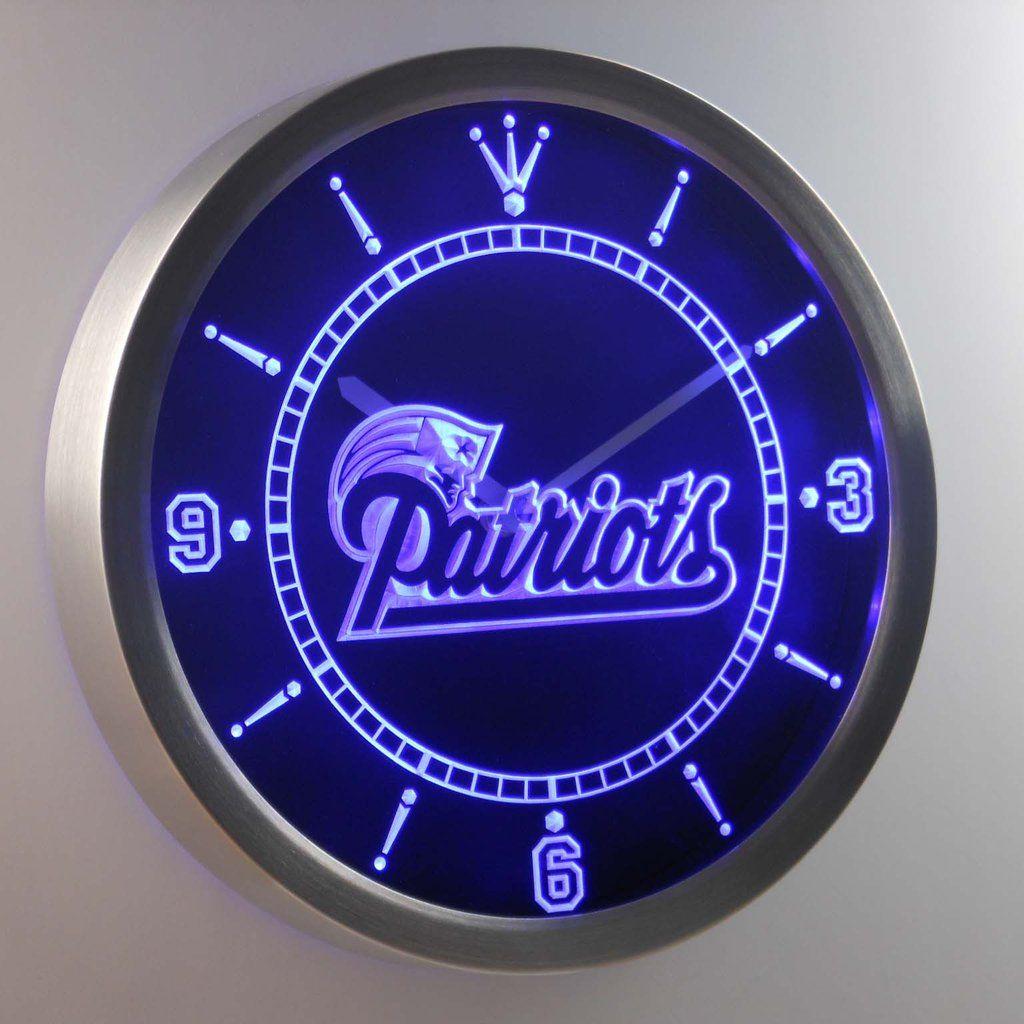 New England Patriots Neon Clock Led Wall Clock Clock Wall Clock