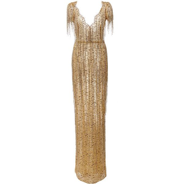 Homecoming Gold Beaded Lace Fabric Fringed for Illusion Gowns Costumes Flapper Dresses Garments