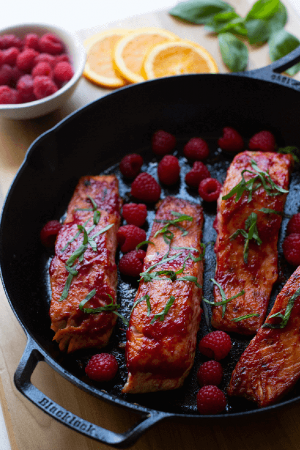 Made with a delicious raspberry and basil sauce, this sweet and savory pan-seared salmon dish will always be a dinnertime favorite. #searedsalmonrecipes Made with a delicious raspberry and basil sauce, this sweet and savory pan-seared salmon dish will always be a dinnertime favorite. #searedsalmonrecipes Made with a delicious raspberry and basil sauce, this sweet and savory pan-seared salmon dish will always be a dinnertime favorite. #searedsalmonrecipes Made with a delicious raspberry and basil #searedsalmonrecipes