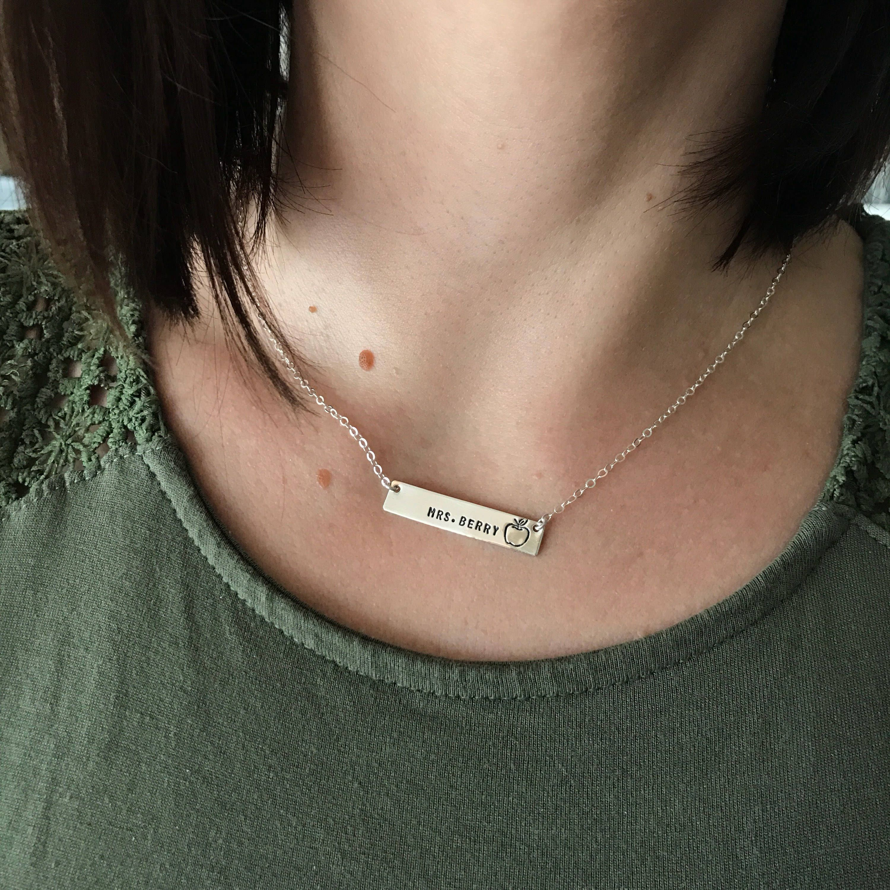 Teacher apple appreciation necklace, world's best teacher, bar necklace, sterling silver personalized, stamped bar, solid sterling bar