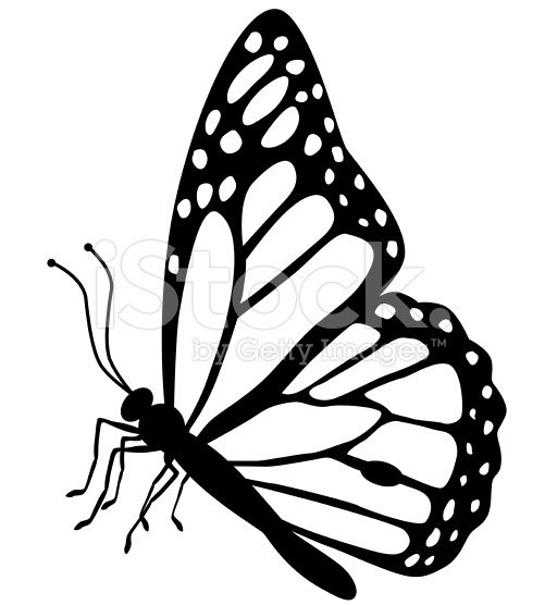 A Vector Illustration Of A Monarch Butterfly Side View In Black