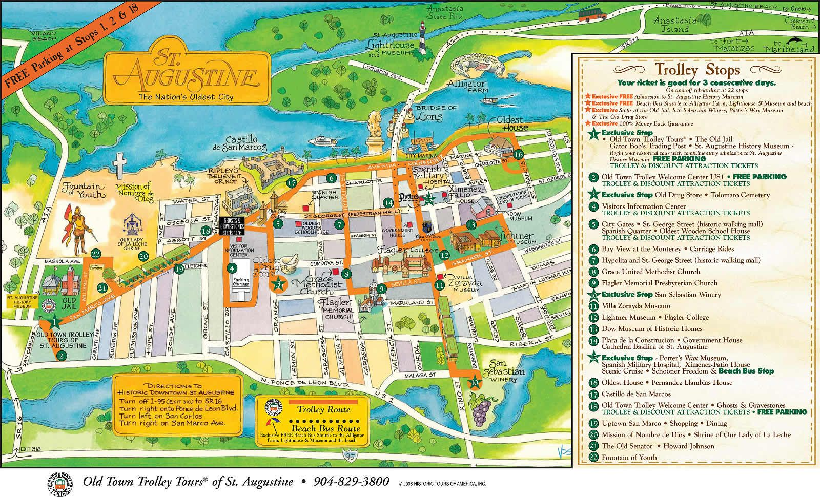 St Augustine Fl Click To View The Full Size Image Courtesy Of - Florida map cities and towns