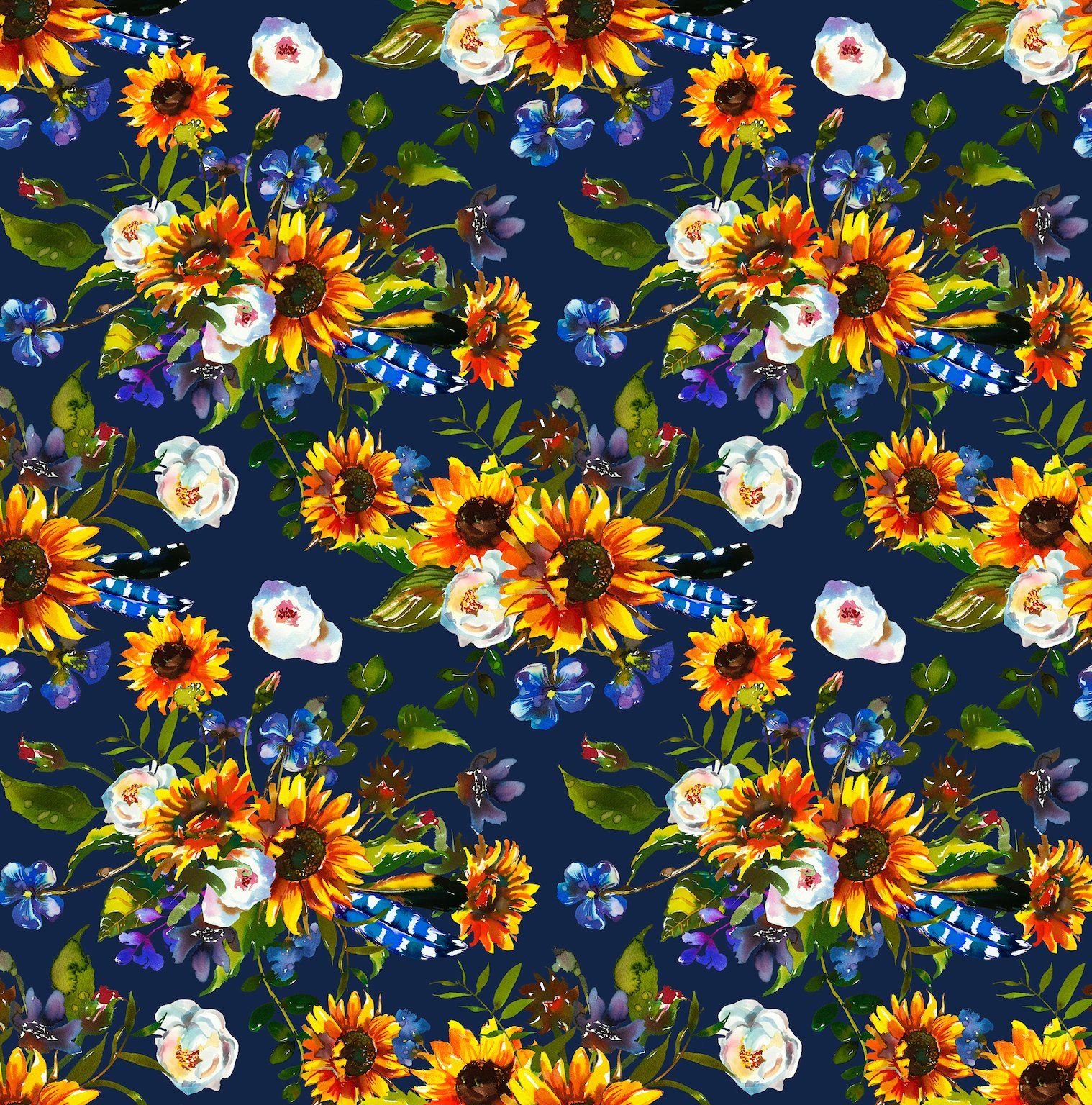 Sunflower Fabric Floral Fabric Flower Fabric Cotton Fabric Knit