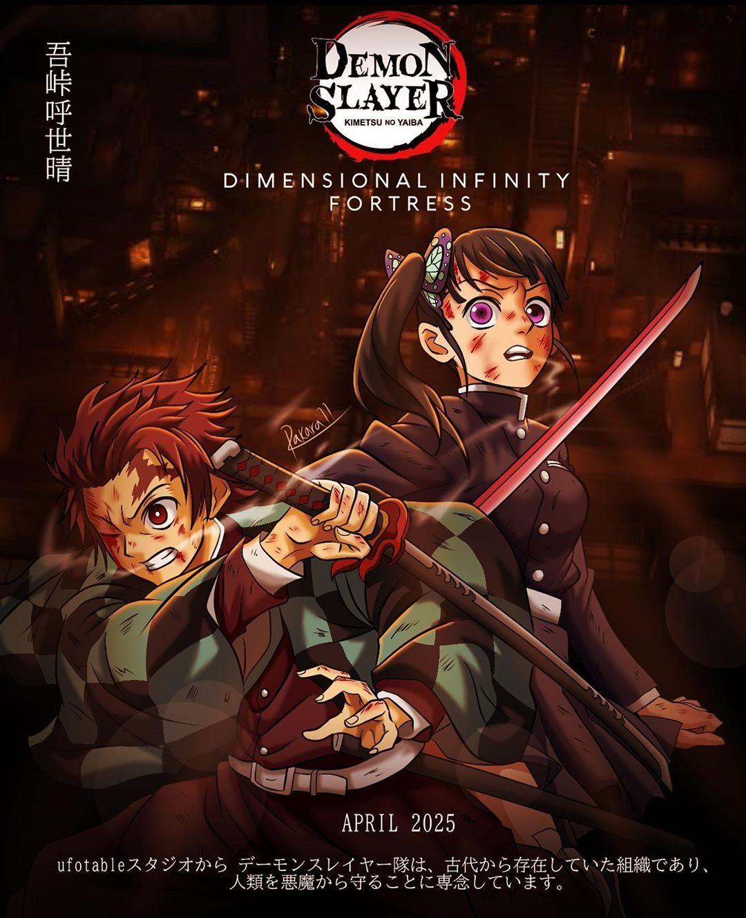 Demon Slayer Movie Dimensional Infinity Fortress 2025 Official Fake Poster Animasi Seni Anime Gambar Anime