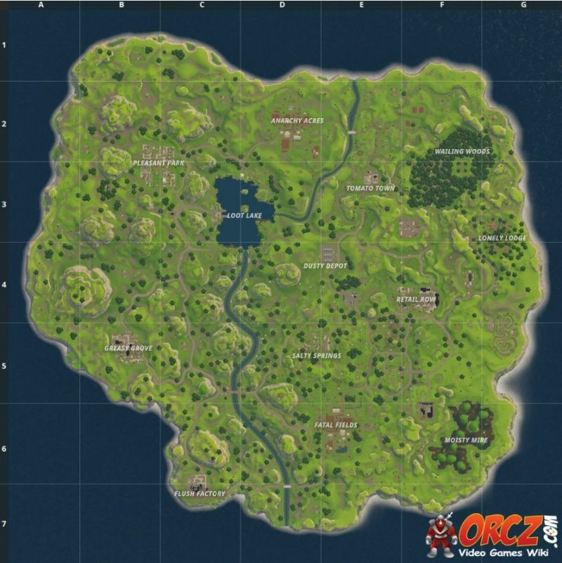 Fortnite Battle Royale Map, features multiple locations