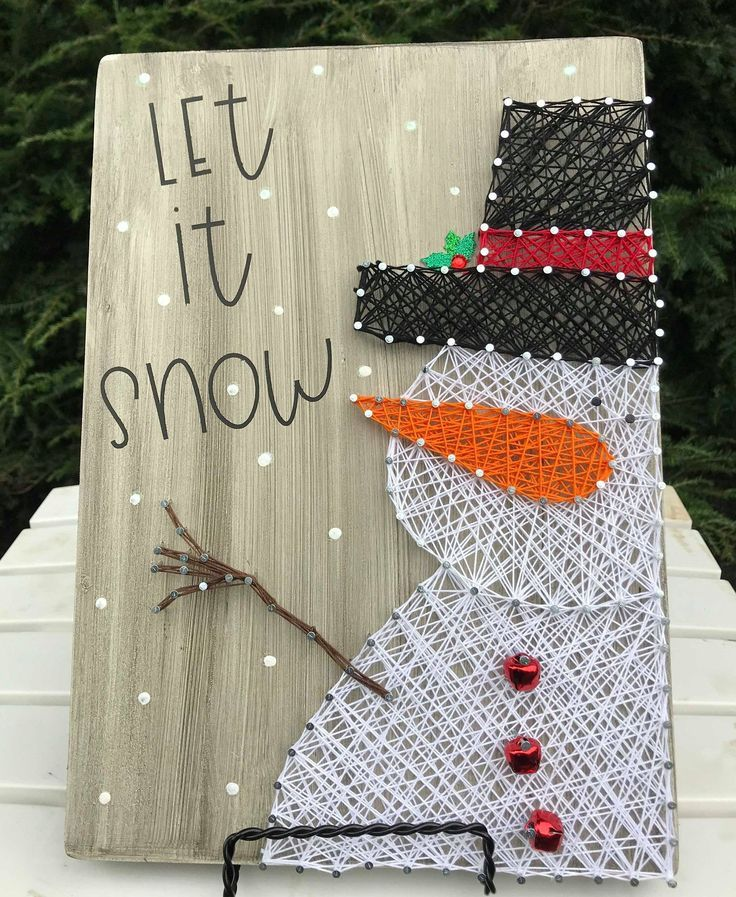 Winter Let it Snow Snowman Sign, Snowman Decor, Wood Sign, String Art, Holiday Decor, Let it Snow Si