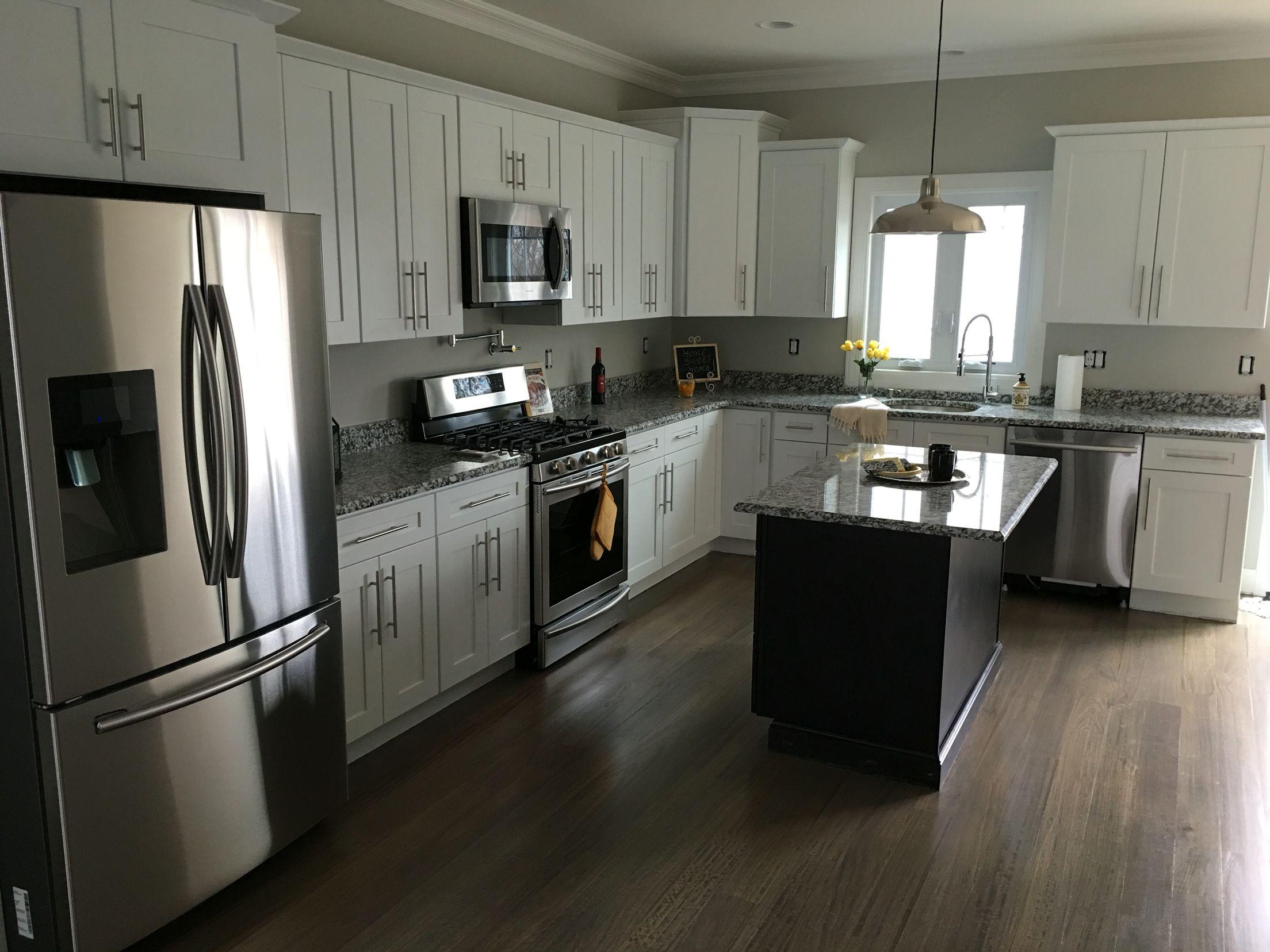 Gran Perla granite and white cubitac RTA cabinets | Affordable RTA ...