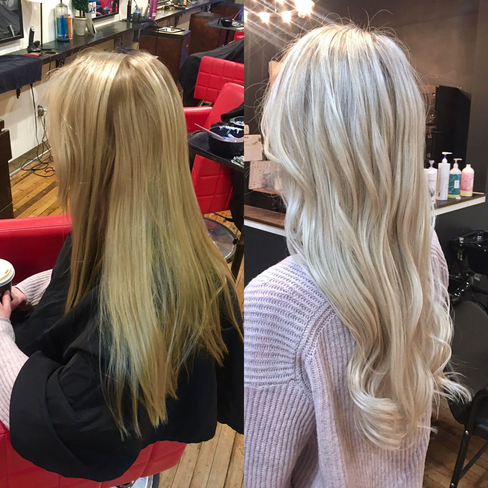 Blonde hair foils. Platinum hair. Icy hair. Hair transformation.