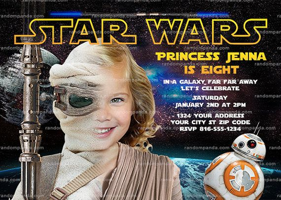 ON SALE Personalize Star Wars Invitation Rey Party Force Awakens Birthday Invite Girl