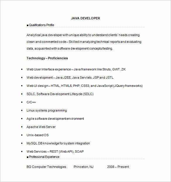 25 Core Java Developer Resume In 2020 Job Resume Samples
