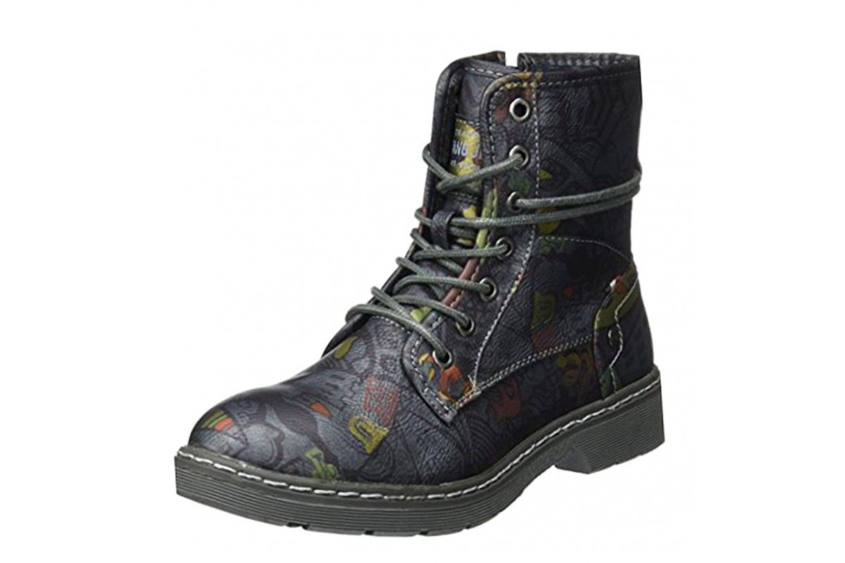 42a00424f9ad Mustang 1235-610 Navy Pattern Lace Up Combat Ankle Boots