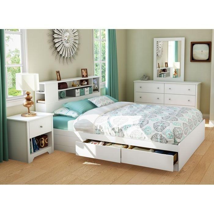 Vito White Queen Storage Bed With Bookcase Headboard White