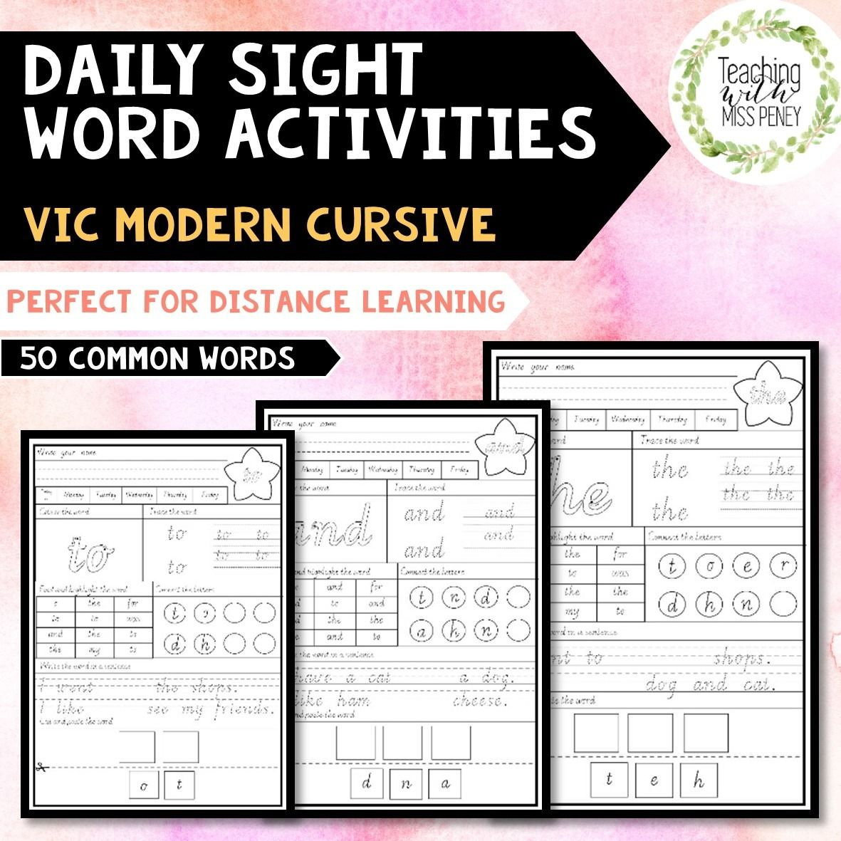 Daily Sight Word Activities Vic Modern Cursive In