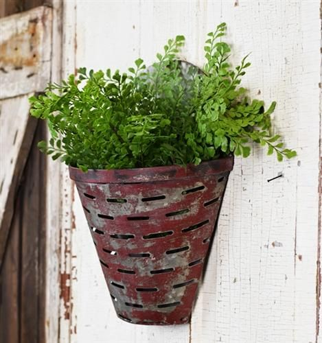 Distressed Red Pocket Slotted Wall Tin Olive Bucket Wall Pockets Wall Planter