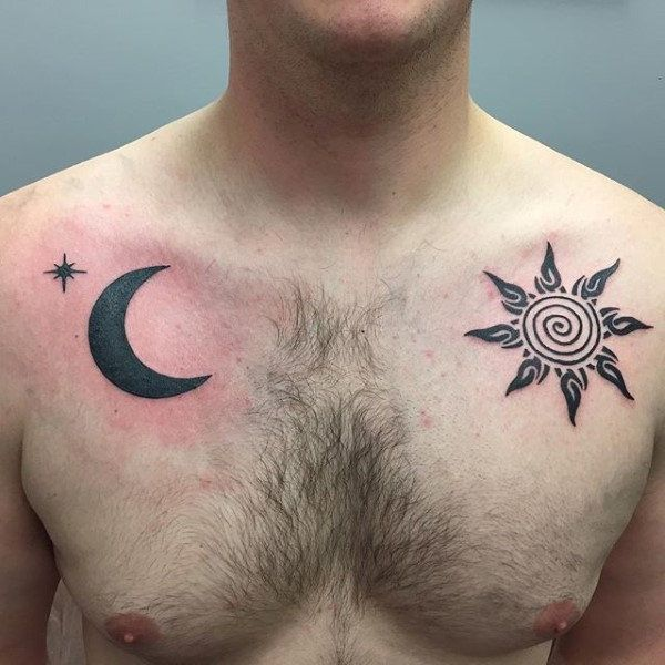 Sun With The Moon Tribal Male Upper Chest Tattoos Sun Tattoo Tribal Sun Tattoo Designs Tattoos For Guys