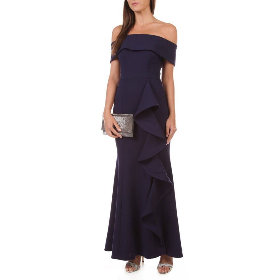 Betsy Adam Off Shoulder Side Ruffle Gown Ruffle Gown Gowns Off Shoulder Gown [ 900 x 900 Pixel ]