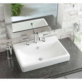 Shop Jacuzzi Anna White Ceramic Drop In Rectangular Bathroom Sink With Overflow At Lowes Com Rectangular Sink Bathroom Drop In Bathroom Sinks Bathroom Sink