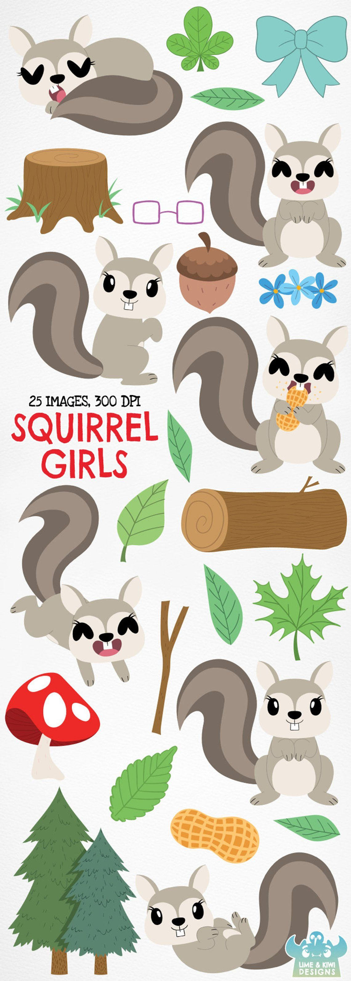 Squirrel Girls Clipart Instant Download Vector Art Woodland Forest Animals Trees Plants Leaves Log Foliage Leaf Mushroom Nuts Clip Art Squirrel Girl Girl Clipart