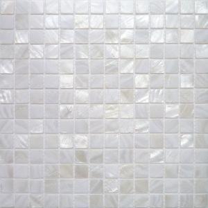 Carrelage mosaique nacre v ritable blanc pur 2x2 cm plaque mati re mosaique patio - Mosaique salle de bain blanche ...