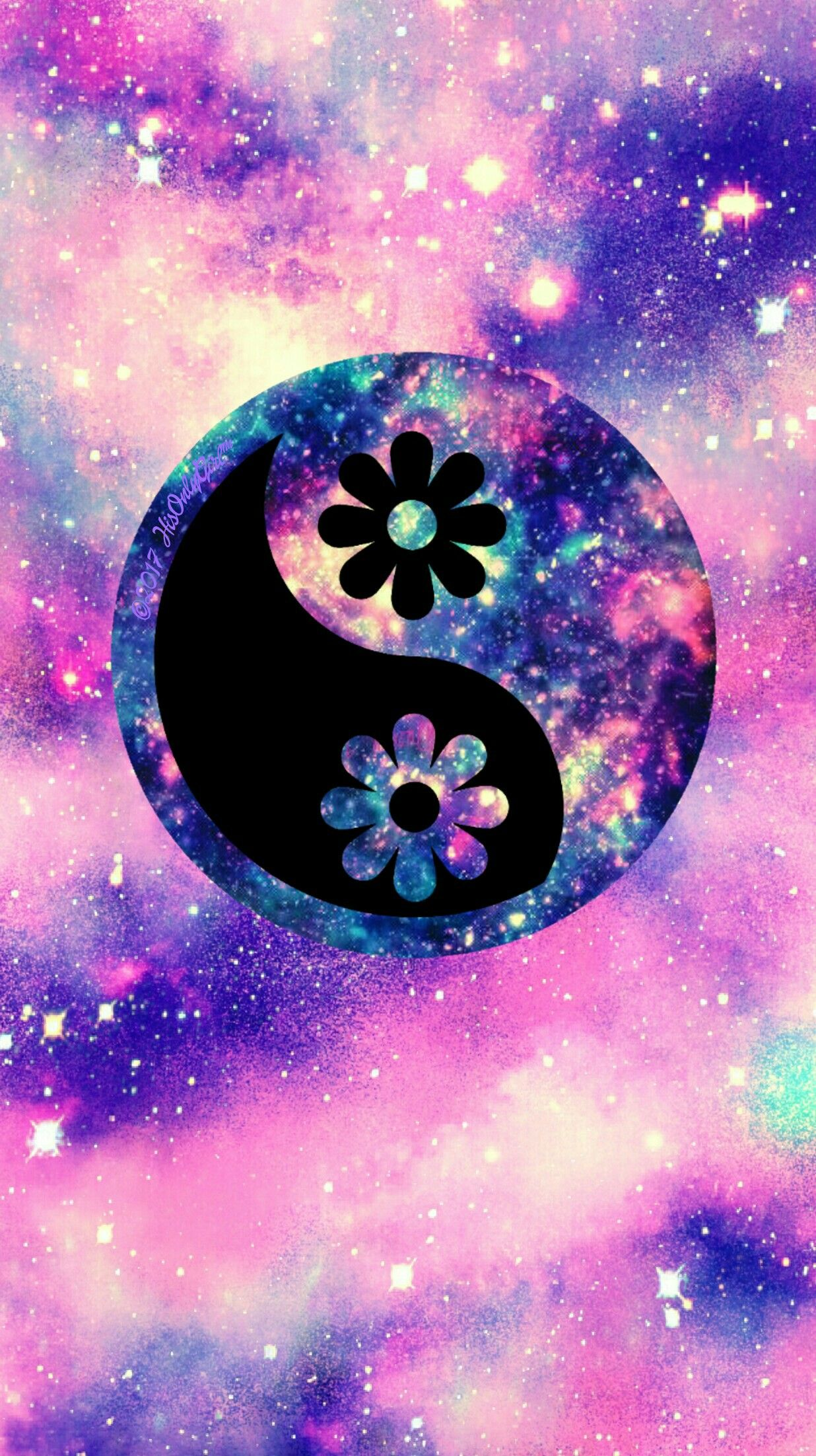 Flower yin yang galaxy wallpaper I created for the app