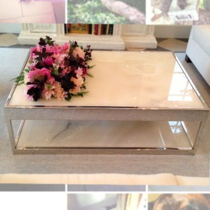 Custom white onyx chrome coffee table LUCIBELLA design Pinterest
