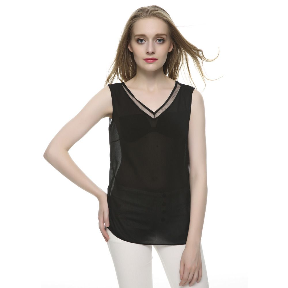 Women summer tops V neck chiffon sleevelsss sexy blouses Blusas ...