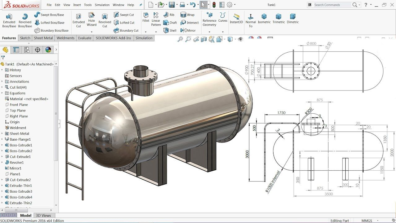 Solidworks Tutorial Design Of Tank Youtube Solidworks Tutorial Mechanical Design Solidworks