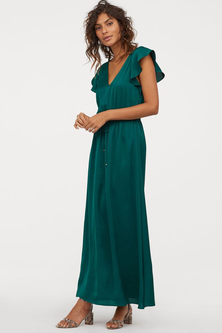 Long Butterfly Sleeved Dress Emerald Green Ladies H M Gb Dresses Dresses With Sleeves Long Dress