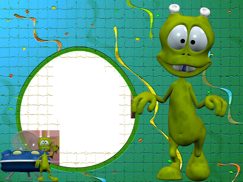 Disco Alien Kids Green Puzzle Transparent Photo Frame ...