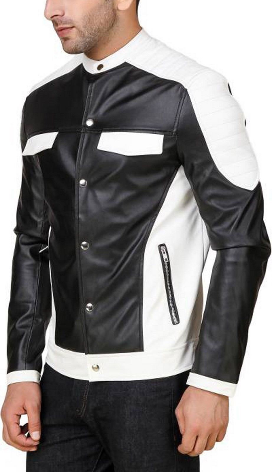 d048d3b74ea Handmade Men Genuine Lambskin Leather Jacket,Black White Biker Motorcycle  jacket