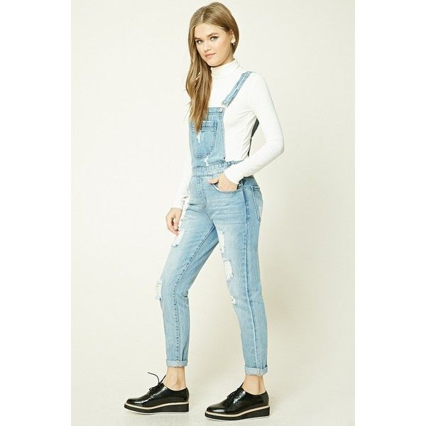 Forever21 Distressed Denim Overalls 35 Liked On Polyvore