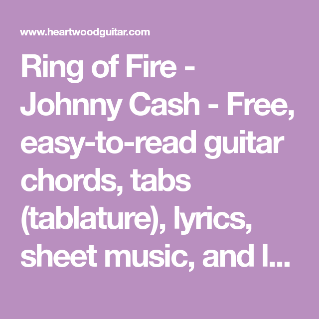 Ring of Fire - Johnny Cash - Free, easy-to-read guitar chords, tabs ...