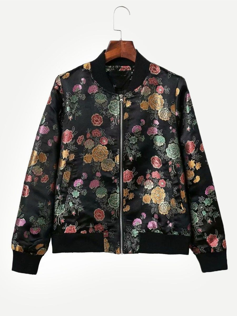 02fe2c328019a Floral Jacquard Zipper Jacket -SheIn(Sheinside) | Embroidered ...