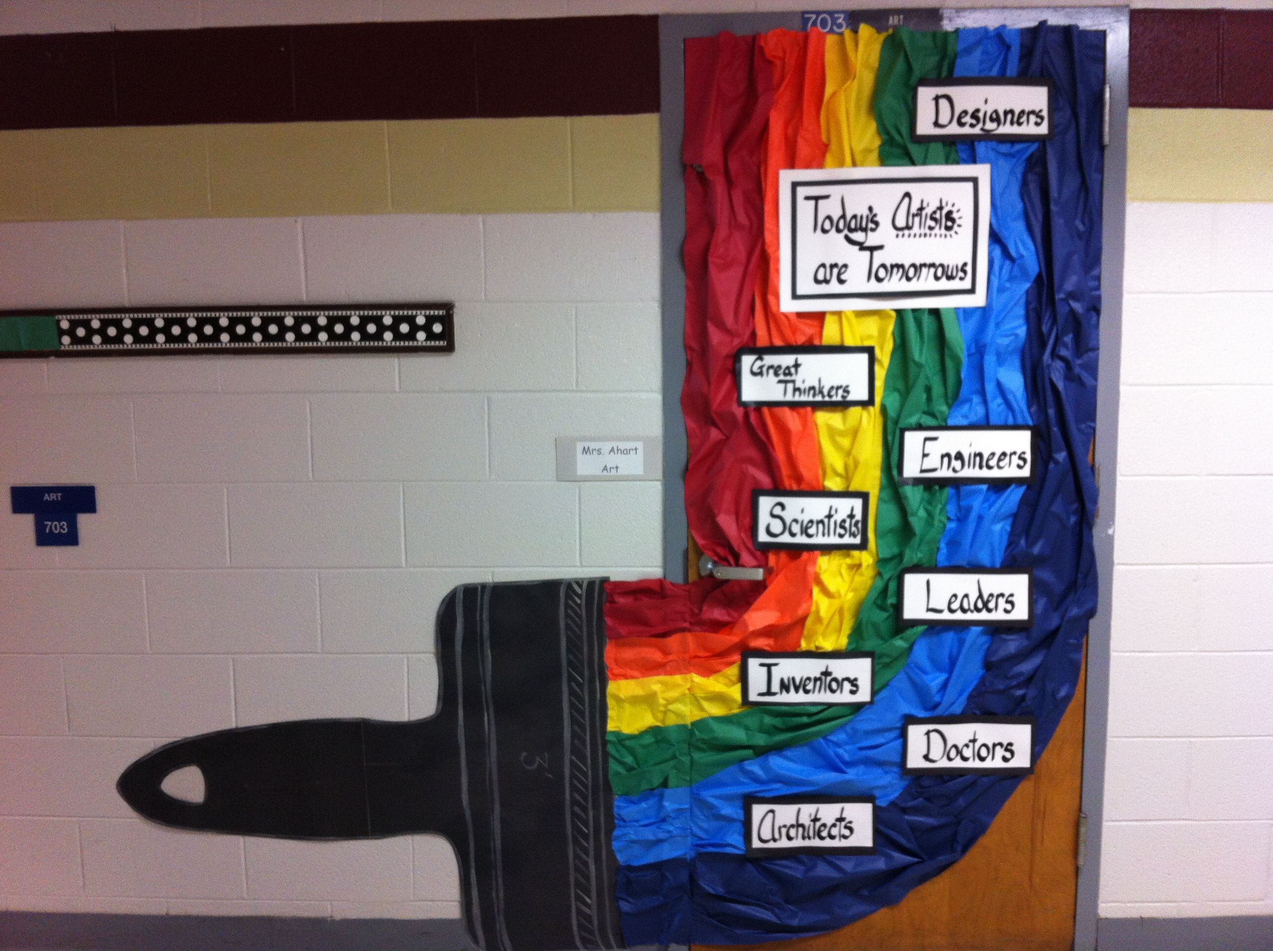 Elementary Classroom Ideas ~ Art room door decor quot today s artist are tomorrows