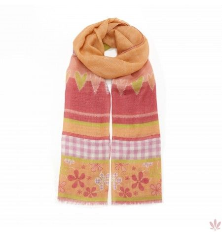 Lilli's Flowers Scarf Silk & Wool Blend. Luxury high quality made in Italy by Fulards.com free shipping.