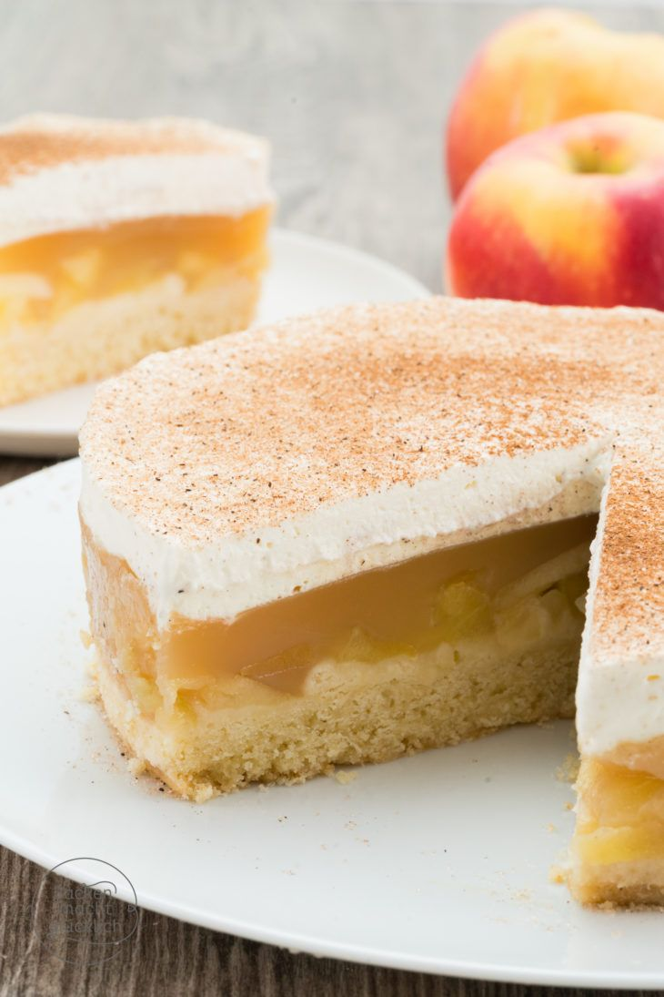 Apfel Sahne Torte Mit Pudding Rezept Lecker Pinterest Kuchen