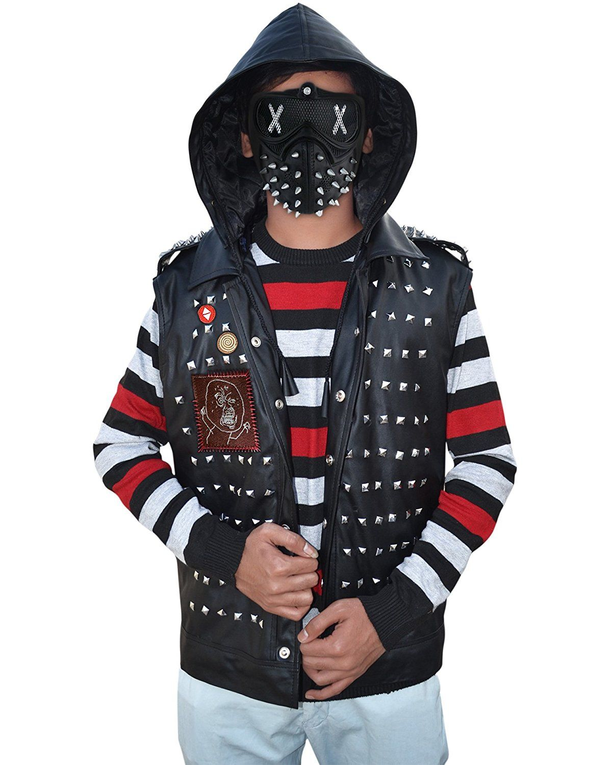 Specifications:  Material: synthetic  Type: Vest  Color: black  Collar: Lapel Style  Studs at front and back  Front: button closure  Patch design on right side  Pointed studs on shoulder  Hood attached