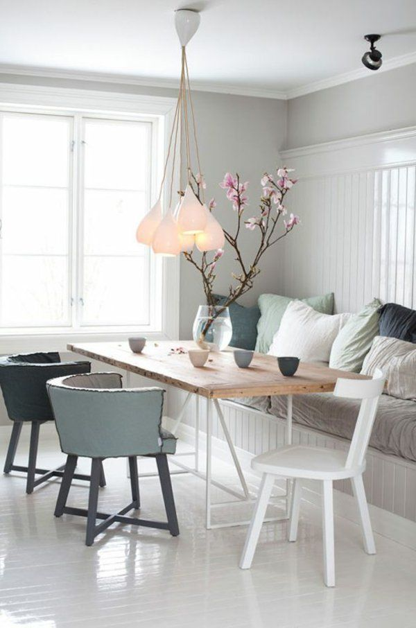 modernes esszimmer interieur vorschläge unterschiedliche stühle - esszimmer modern gemutlich