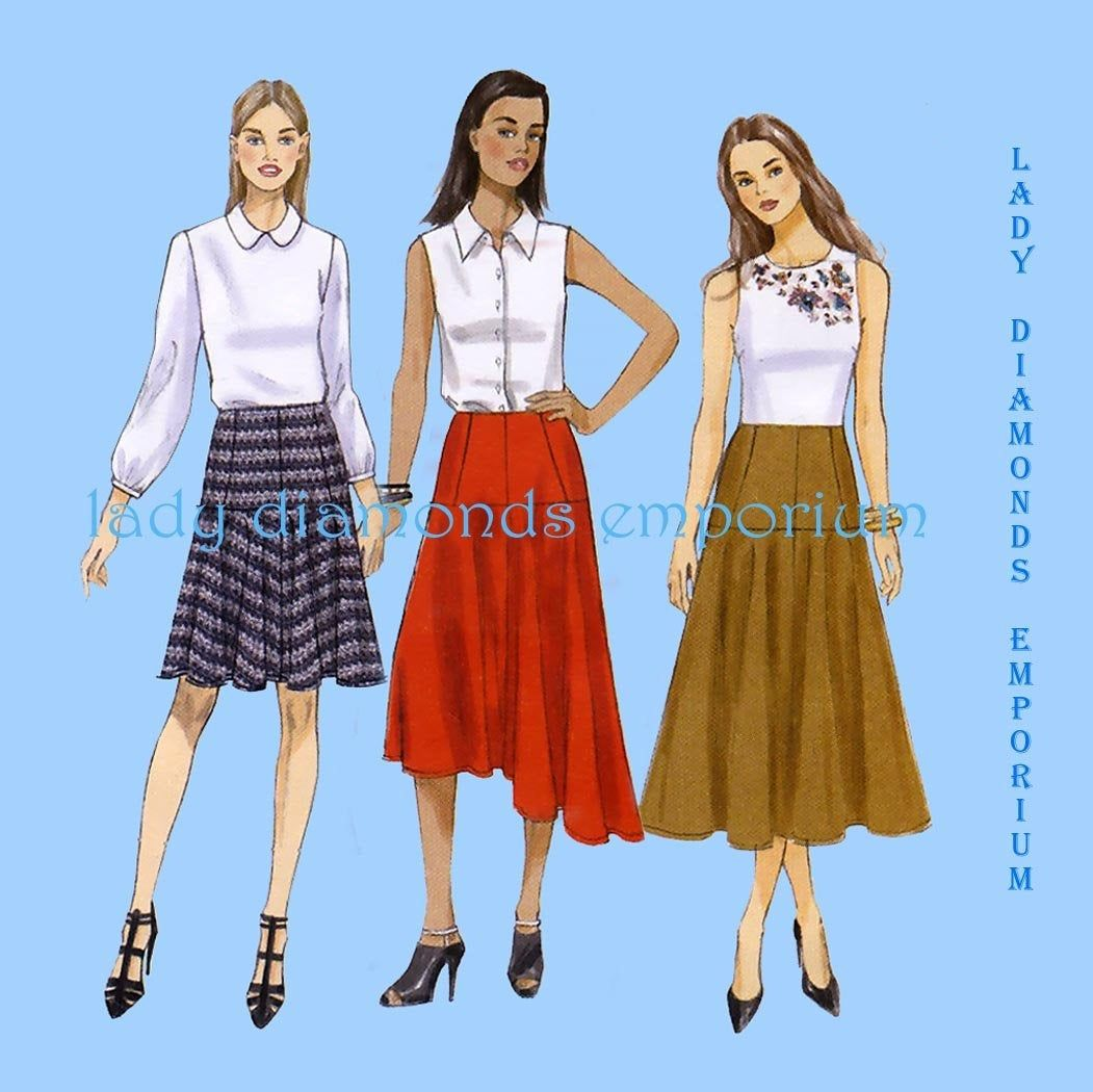 Womens Fitted Flared Skirts With Yokes Mini Midi Maxi Asymmetrical High Low Hem Option Size 6 8 10 12 14 Sewing Pattern Vogue 9154 Uncut In 2020 Vogue Sewing Patterns Flare Skirt Plus Size Sewing Patterns