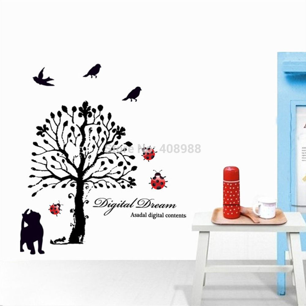 Find More Wall Stickers Information about Stickers Removable Wedding Room Living Room Television Background Environmental PVC Stickers Black Tree,High Quality Wall Stickers from LT Milliongadgets Shop on Aliexpress.com