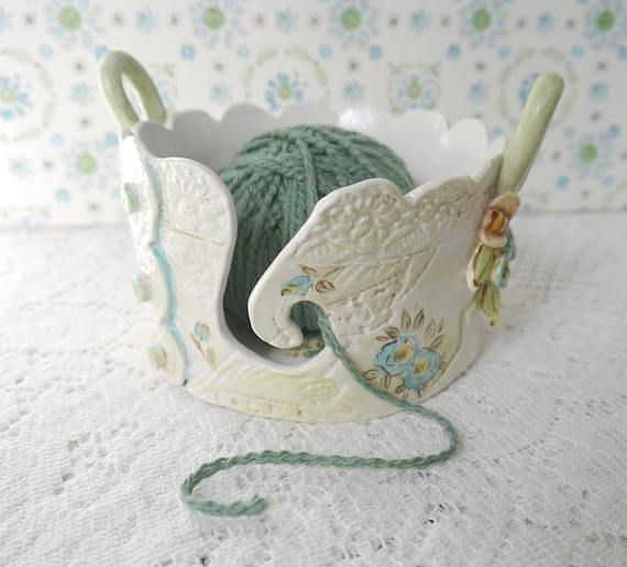 This is a MADE TO ORDER item Please allow 4 - 6 wks. I welcome custom requests for colors other than shown here, and I have other yarn bowl styles available as well. Please contact me for more information. ♥♥♥♥♥♥♥♥♥♥♥ This for a CUSTOM MADE Yarn Bowl. Vintage Embroidery and